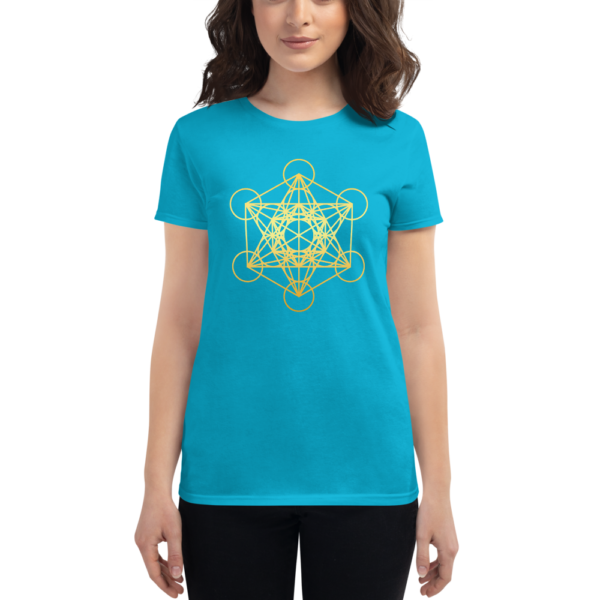woman wearing aqua blue t-shirt with a gradient gold metatron's cube sacred geometry in the front center
