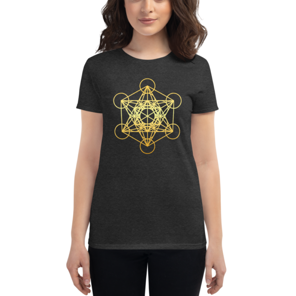 woman wearing heather dark grey t-shirt with a gradient gold metatron's cube sacred geometry in the front center