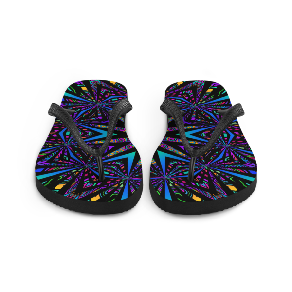 brightly colored artwork flip flops front view