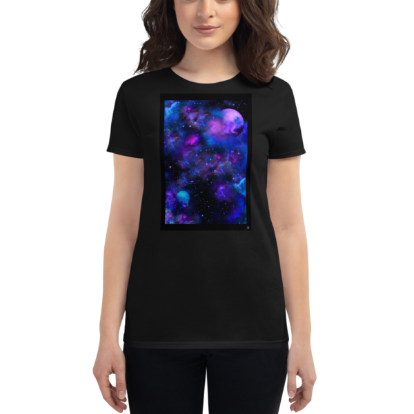 woman wearing a black women's t-shirt with nebulae artwork box on the front