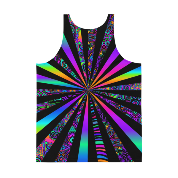 mens psychedelic tank top with bright colors and black stripes center focalpoint backside