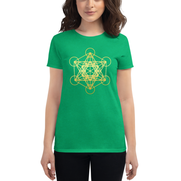 woman wearing green t-shirt with a gradient gold metatron's cube sacred geometry in the front center