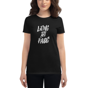 women wearing black t-shirt that says love is free in graffiti letters