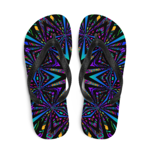 brightly colored artwork flip flops top down view
