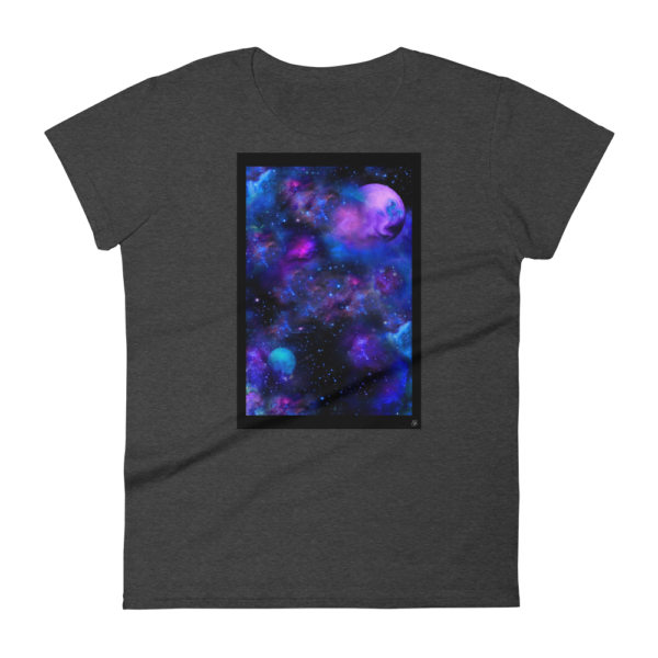 black heather women's t-shirt with nebulae artwork box on the front