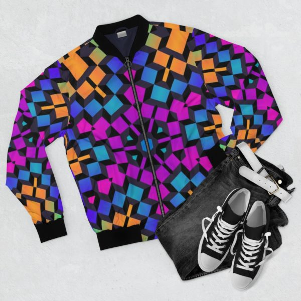 colorful cube bomber jacket front with pants and sneakers for context