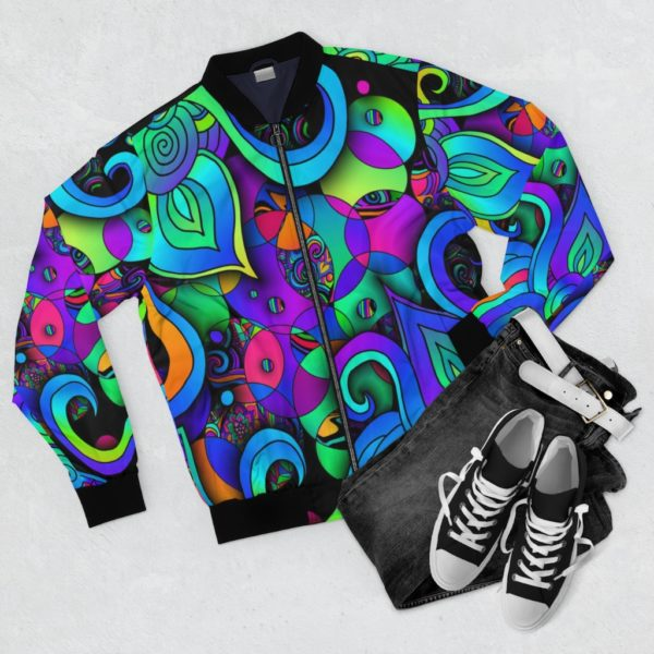 artwork bomber jacket with colorful circles and spirals frontside with pants and sneakers for context