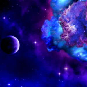 outer space scene with purple planet