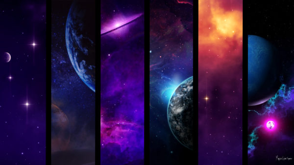 outer space art split into 6 images with nebulas planets and stars desktop wallpaper in 1080