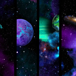 outer space art split into 6 images with stars planets and galaxies desktop wallpaper in 1080
