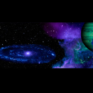 widescreen outer space scene with planets and galaxy