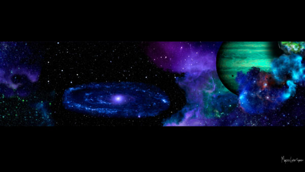 widescreen outer space scene with planets and galaxy free desktop wallpaper in 1080
