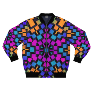 colorful cubes artwork bomber jacket with zipper frontside