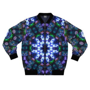 crystal vibes artwork bomber jacket with zipper frontside