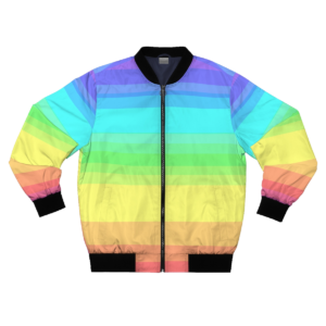 faded rainbow bomber jacket front