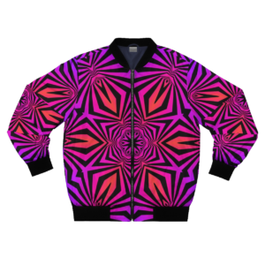 bomber jacket with bright orange and magenta frontside