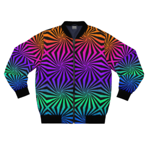 bright multicolored optical illusion artwork bomber jacket with zipper frontside