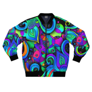 artwork bomber jacket with colorful circles and spirals front