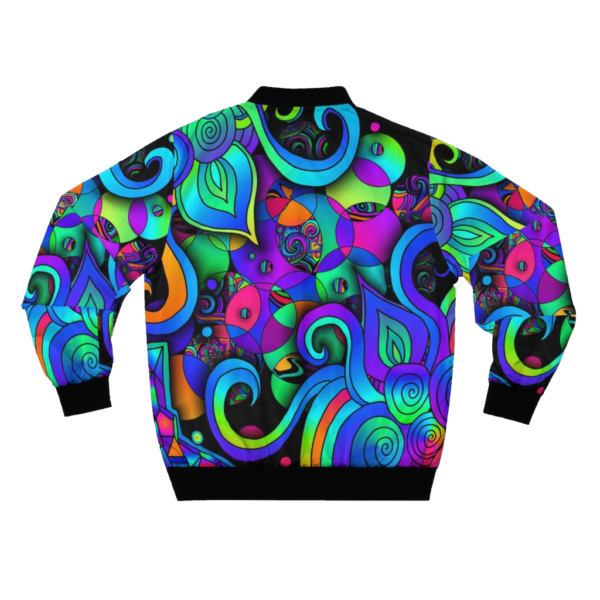 artwork bomber jacket with colorful circles and spirals back