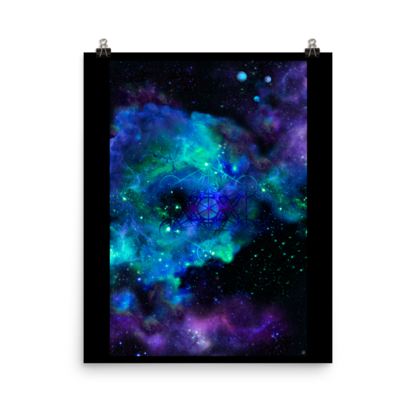 outer space nebula artwork with metatron's cube poster