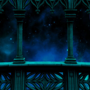 blue toned balcony overlooking outer space desktop wallpaper in 1080
