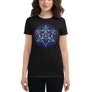 women wearing t-shirt with merkaba and flower of life sacred geometry