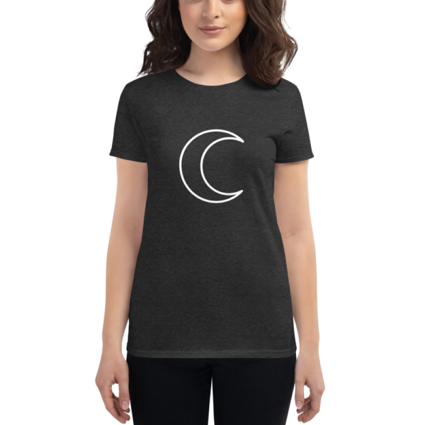 woman wearing t-shirt with white crescent moon symbol