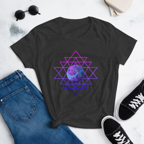 lifestyle image of t-shirt with planet and sri yantra symbol