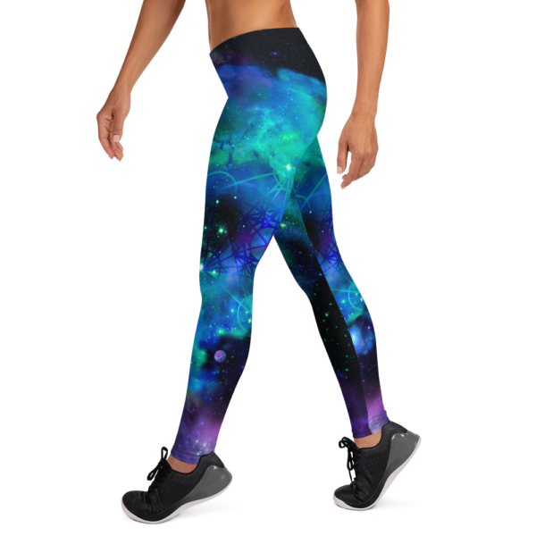 woman wearing leggings with cool colored nebulae and metatron's cube