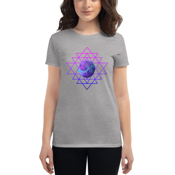 woman wearing t-shirt with planet and sri yantra symbol