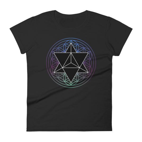 t-shirt with a black merkaba and a colored flower of life