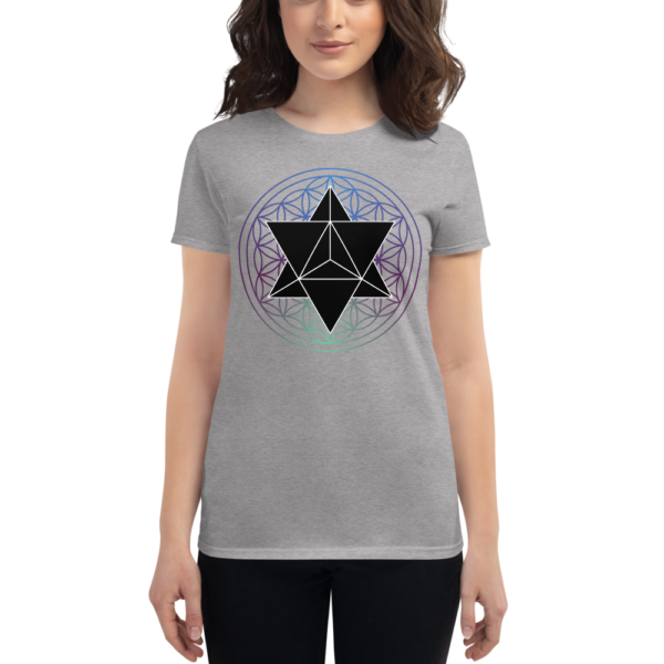 woman wearing t-shirt with a black merkaba and a colored flower of life