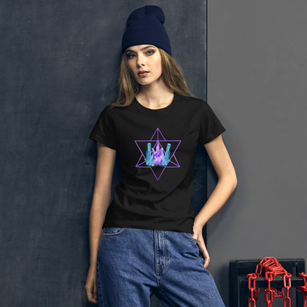 women wearing t-shirt with a merkaba and artistic crystals