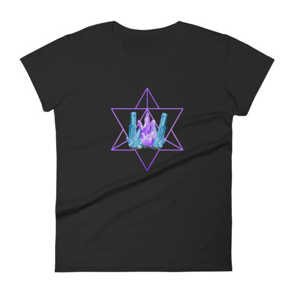 t-shirt with artistic crystals and a purple merkaba