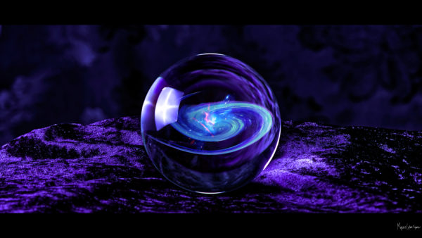 purple velvet background crystal ball with galaxy in it desktop wallpaper in 1080