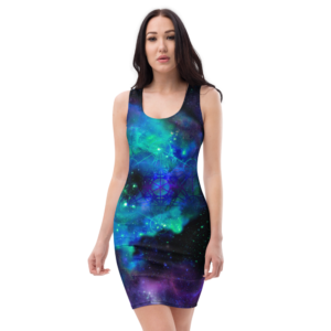 women wearing a fitted dress with blue and purple nebula outerspace and metatron's cube symbol print